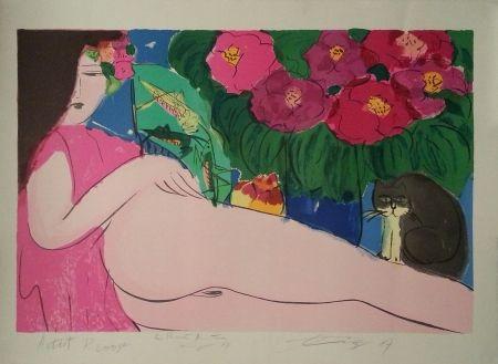 Lithographie Ting - Dame Au Chat Noir