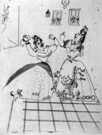 Radierung Chagall - Dames Charmantes Et Charmantes À Tous Égards