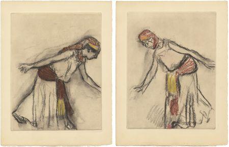 Radierung Und Aquatinta Degas - Danseuse orientale : 2 études (vers 1890)