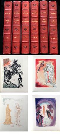 Illustriertes Buch Dali - Dante : LA DIVINE COMÉDIE. 6 volumes reliures éditeur. 100 planches couleurs signées. (1959)