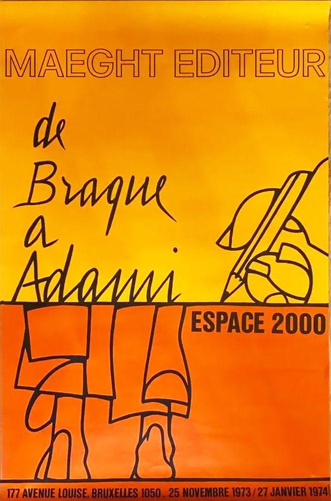 Plakat Adami - DE BRAQUE À ADAMI : Exposition 1974. Affiche originale.