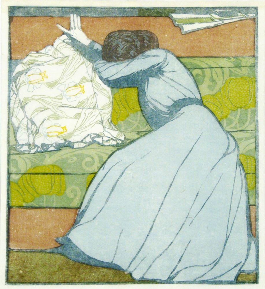 Holzschnitt Von Max Kurzweil Der Polster The Pillow Auf