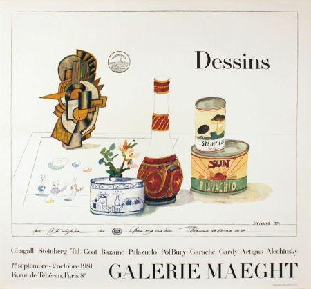 Plakat Steinberg - DESSINS. Galerie Maeght 1981. Affiche.