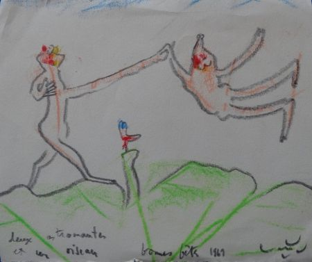 Keine Technische Matta - Deux astronautes et un oiseau