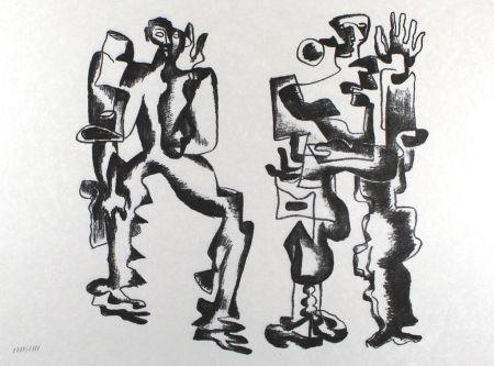 Lithographie Zadkine - Deux figures