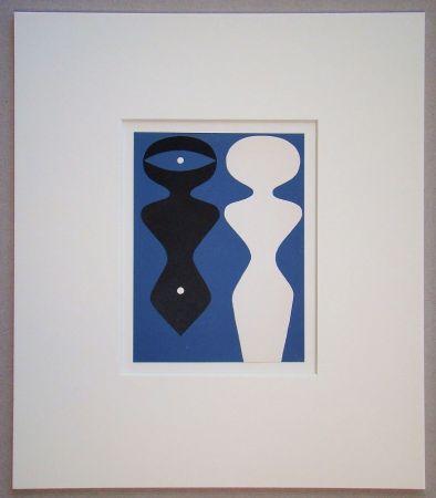 Holzschnitt Arp - Deux figures sur fond bleu