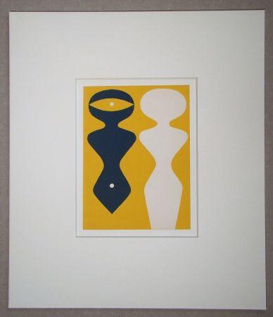Holzschnitt Arp - Deux figures sur fond jaune
