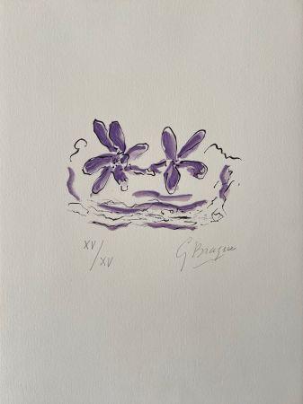 Holzschnitt Braque - Deux fleurs violettes