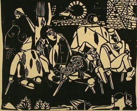 Holzschnitt Campendonk - Die Bettler (Nach Bruegel) / The Beggars (After Bruegel)