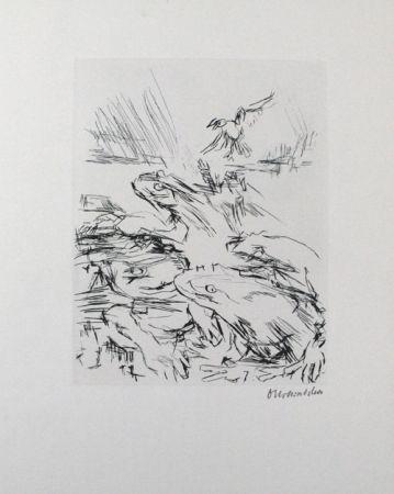Kaltnadelradierung Kokoschka - Die Frösche / The Frogs