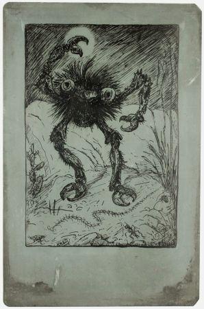 Lithographie Kubin - Die sieben Todsünden (The seven deadly sins: wrath)