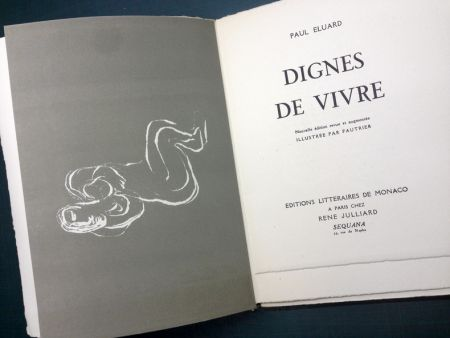 Illustriertes Buch Fautrier - DIGNES DE VIVRE. Lithographies de Fautrier. 1944