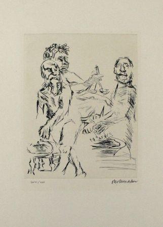 Kaltnadelradierung Kokoschka - Dionysos, Aischylos und Euripides opfern vor dem Wettkampf