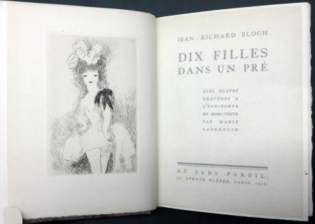 Illustriertes Buch Laurencin - DIX FILLES DANS UN PRÉ avec quatre gravures à l'eau-forte en hors-texte par Marie Laurencin (Ex. avec suite)