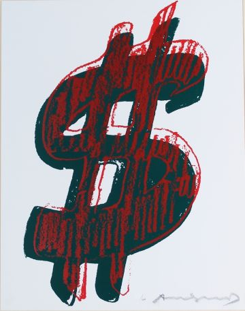 Siebdruck Warhol - Dollar Sign, Red (FS II.278)