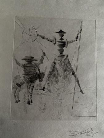 Kaltnadelradierung Dali - Don Quichotte und Sancho Panca