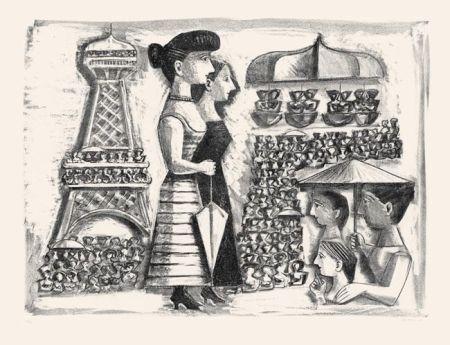 Lithographie Campigli - Donne alla Torre Eiffel