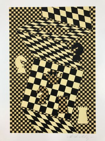 Lithographie Vasarely - ECHIQUIER