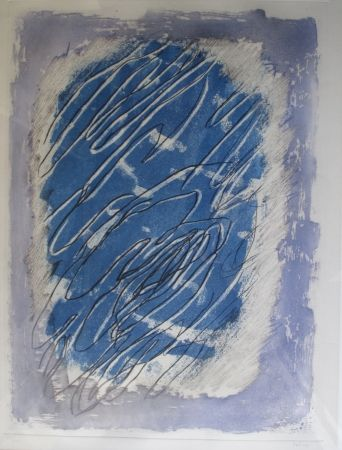 Aquatinta Fautrier - Ecriture Sur Fond Bleu
