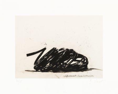 Lithographie Venet - Effondrement lignes indéterminées