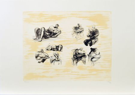 Lithographie Moore - Eight sculptural ideas, girl writing