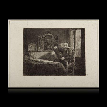 Stich Rembrandt - El boticario Abraham Francen