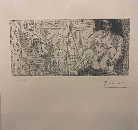Radierung Picasso - En el atelier, pintor, modelo y espectador