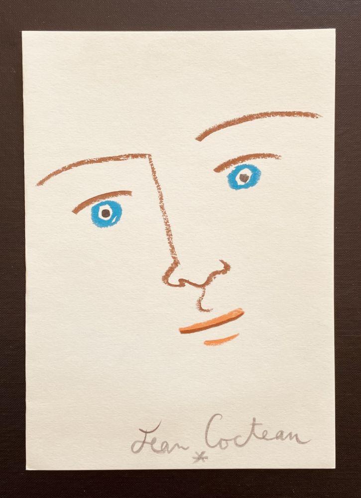 Lithographie Cocteau - En face yeux bleu