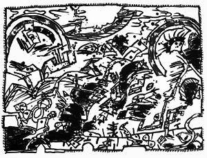 Lithographie Alechinsky - En fait (Etat en noir)