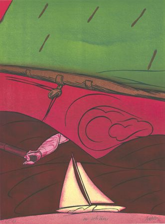 Lithographie Adami - En solitaire