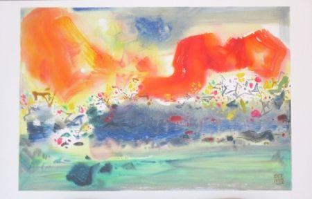 Lithographie Chu Teh Chun  - Encre Orageuse