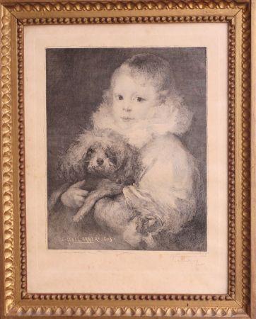 Radierung Carriere - Enfant au chien