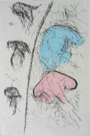 Stich Balle - Etching with watercolour
