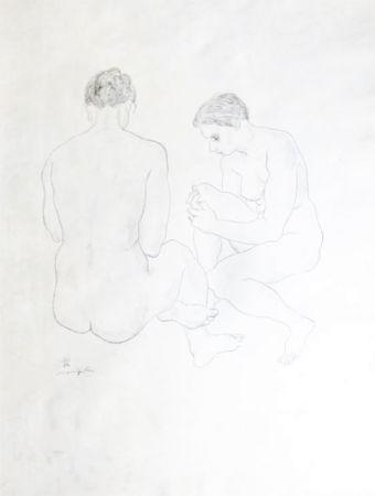 Lithographie Foujita - Etude de Nus