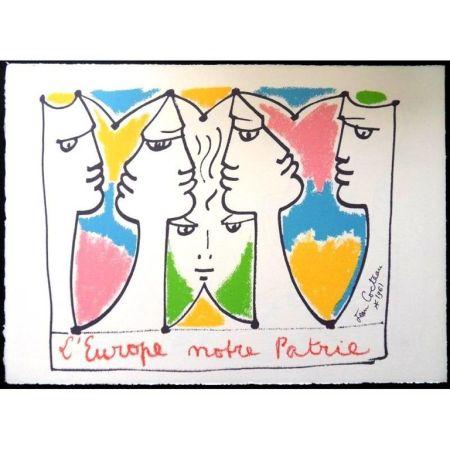 Lithographie Cocteau - Europe Pont pour les Civilisations