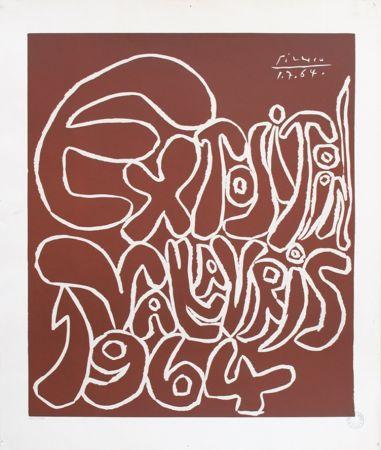 Linolschnitt Picasso - '' Exposition Vallauris 1964 ''