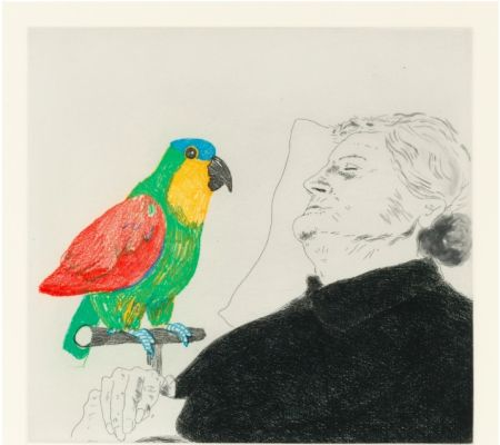 Radierung Hockney -  Félicité sleeping with Parrot. 1974