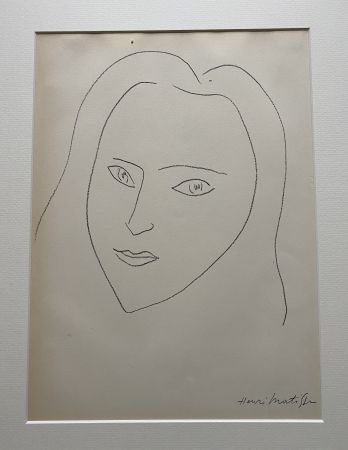 Lithographie Matisse (After) - Facing Woman's  portrait with long hair