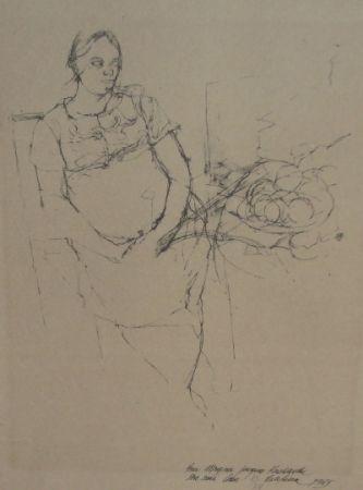 Lithographie Szafran - Femme à la coupe de fruits