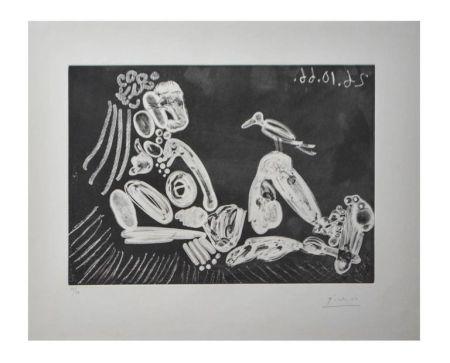 Lithographie Picasso - Femme à l'oiseau