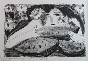 Lithographie Ting - Femme A La Pasteque,