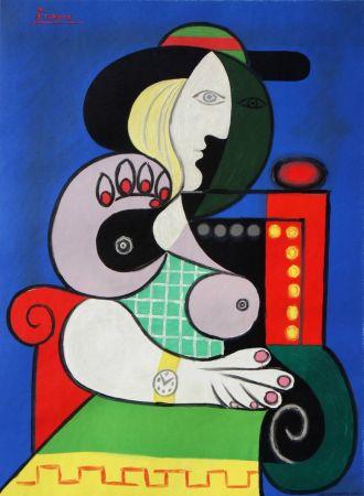 Lithographie Picasso - Femme Assise Avec Montre-Bracelet