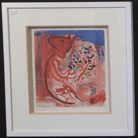 Lithographie Chagall - Femme au bouquet