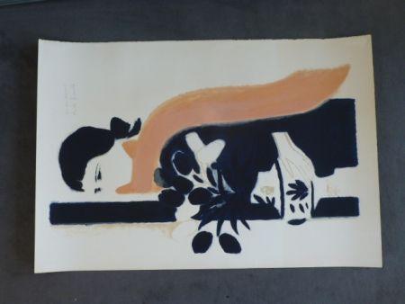 Lithographie Brasilier - Femme au châle