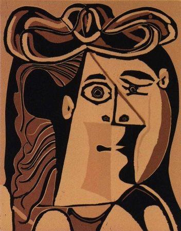 Linolschnitt Picasso - Femme au Chapeau