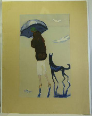 Pochoir Van Dongen - Femme au chien marchant sur la plage.