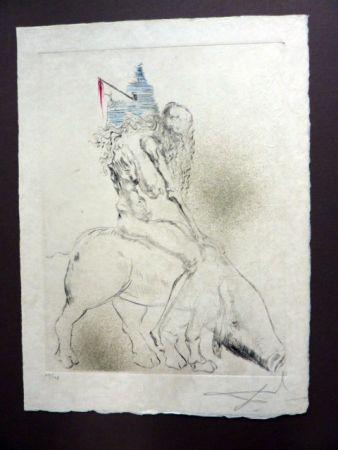 Kaltnadelradierung Dali - Femme Au Cochon (Faust)