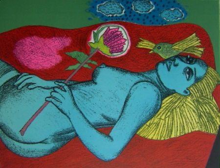 Lithographie Corneille - Femme au fleur australien