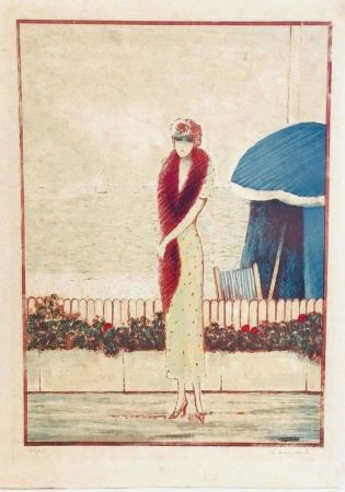 Lithographie Cassigneul  - Femme au Fox