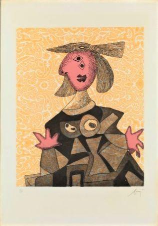 Radierung Und Aquatinta Baj - Femme d'après Picasso